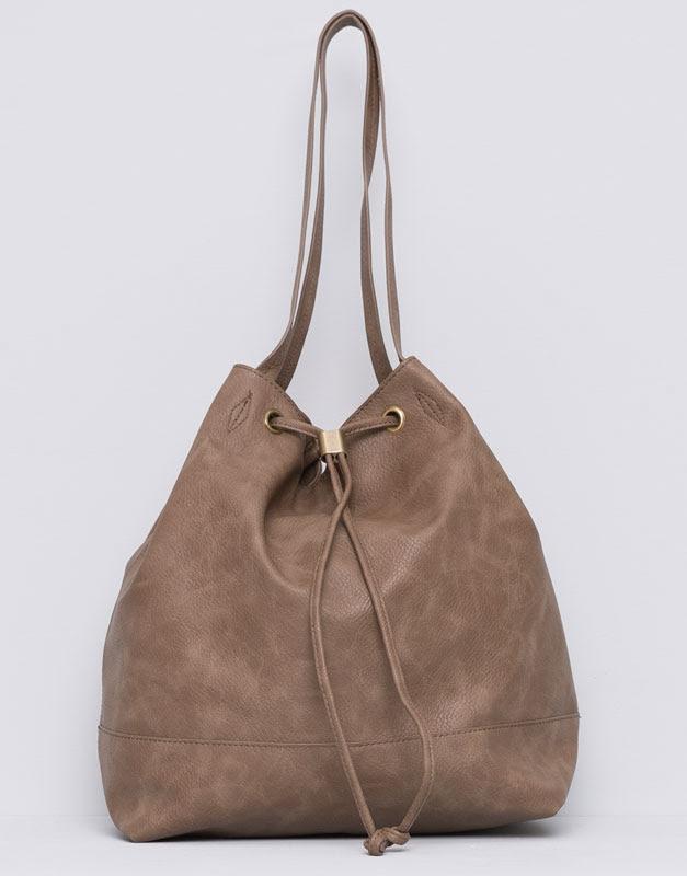 Pull&Bear - mujer - bolsos y mochilas - bolso saco tipo bombonera - arena - 09821333-I2015