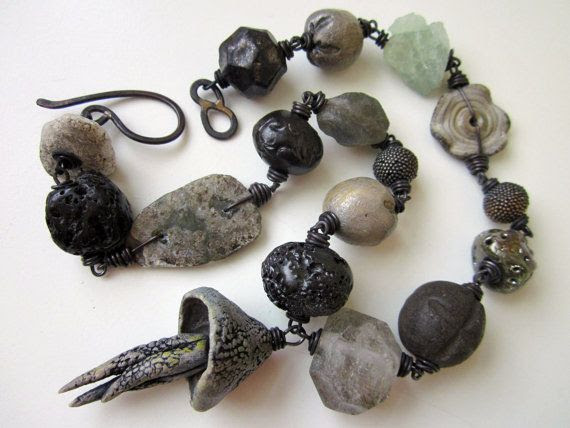 None of It - primitive chunky assemblage slate gray blue abstract jellyfish focal, ceramic art bead, trade bead, stone, and copper necklace on Etsy, $171.00