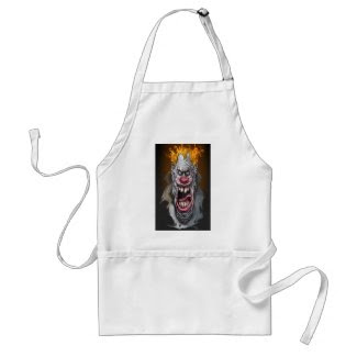 burning clown apron