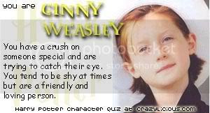 I was Ginny Weasley at the Harry Potter character quiz @ Crazylicious.com