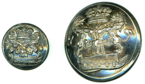 Marquis of Crewe, 2 x silver plated armorial buttons - 1 large & 1 small
