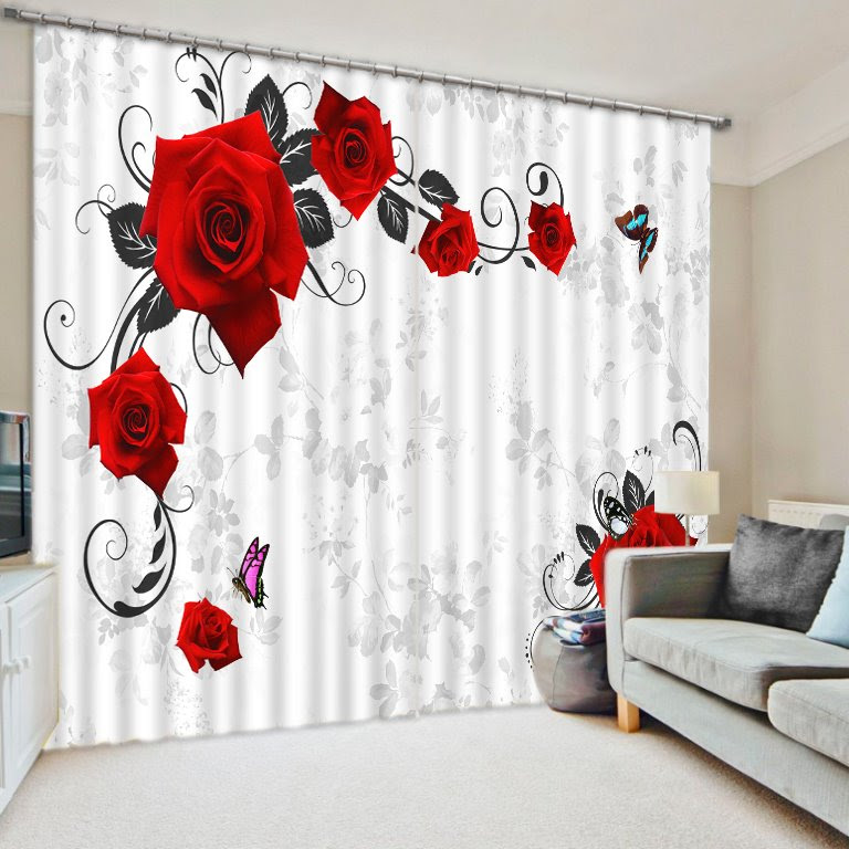 Elegant Red Roses and Butterful Print 3D Blackout Curtain