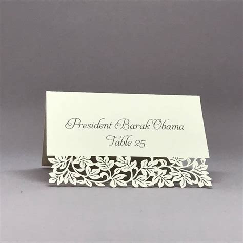 Laser Cut Place Card   Clara White   25 Blank Place Cards