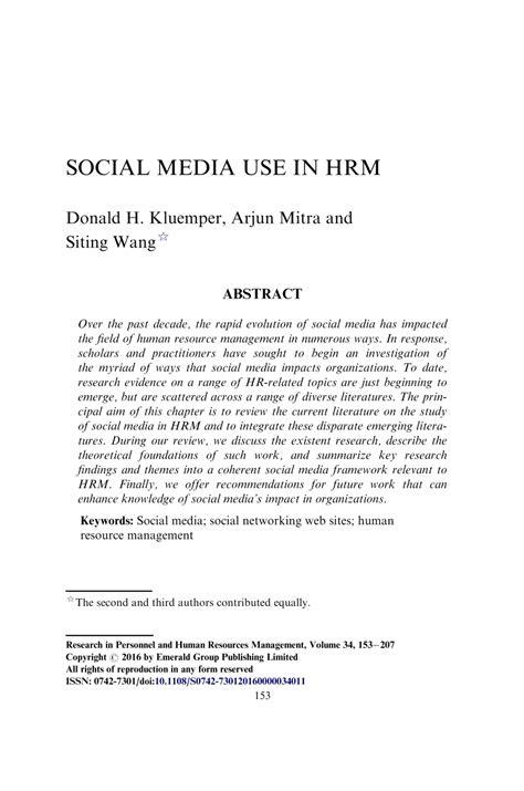 (PDF) Social media use in HRM