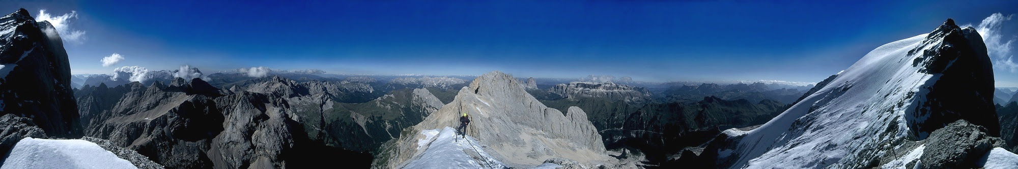 360° panoramic view from Marmolada, highest peak in the Dolomites