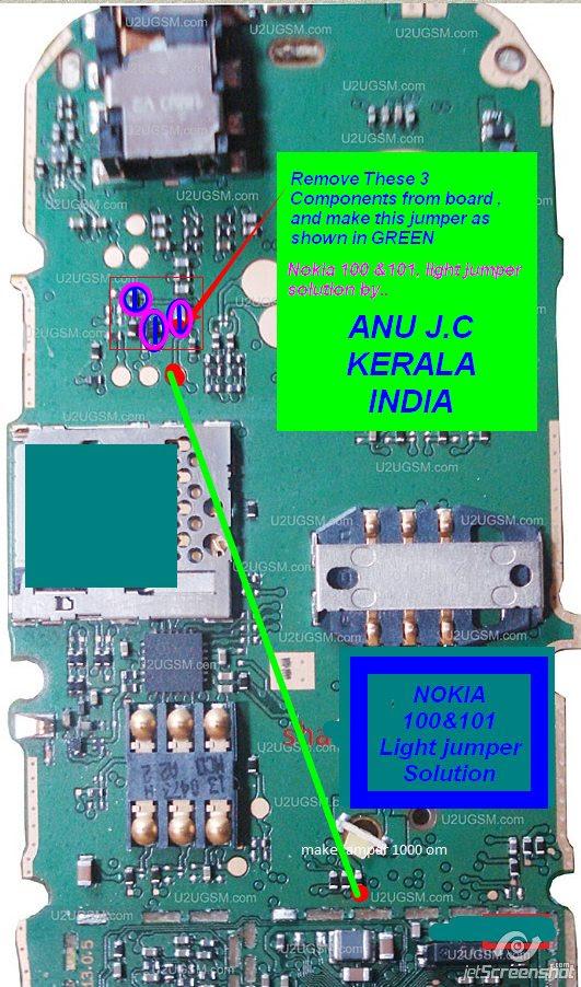 Nokia 101 LCD Display Light IC Solution Jumper Problem Ways