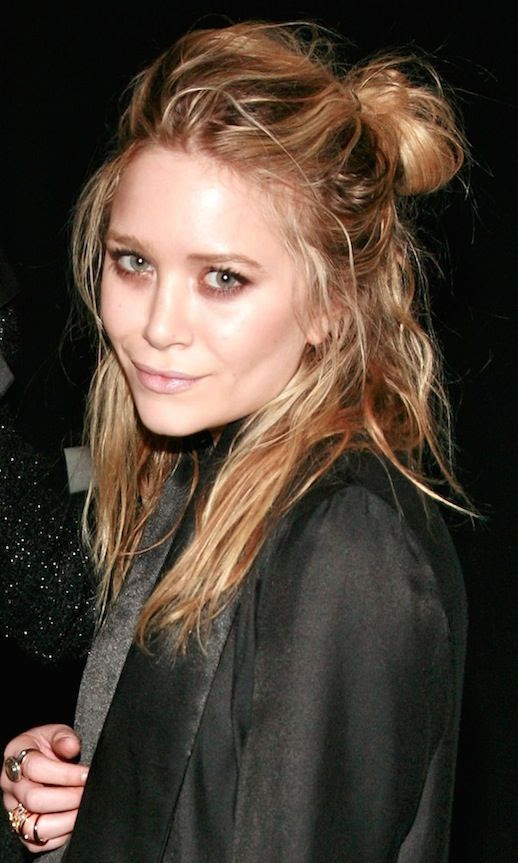 17 Le Fashion Blog 20 Inspiring Half Up Top Knot Hairstyles Celebrity Mary Kate Olsen Wavy Textured Hair Bun
