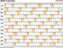 2020 Calendar Uk Printable Template