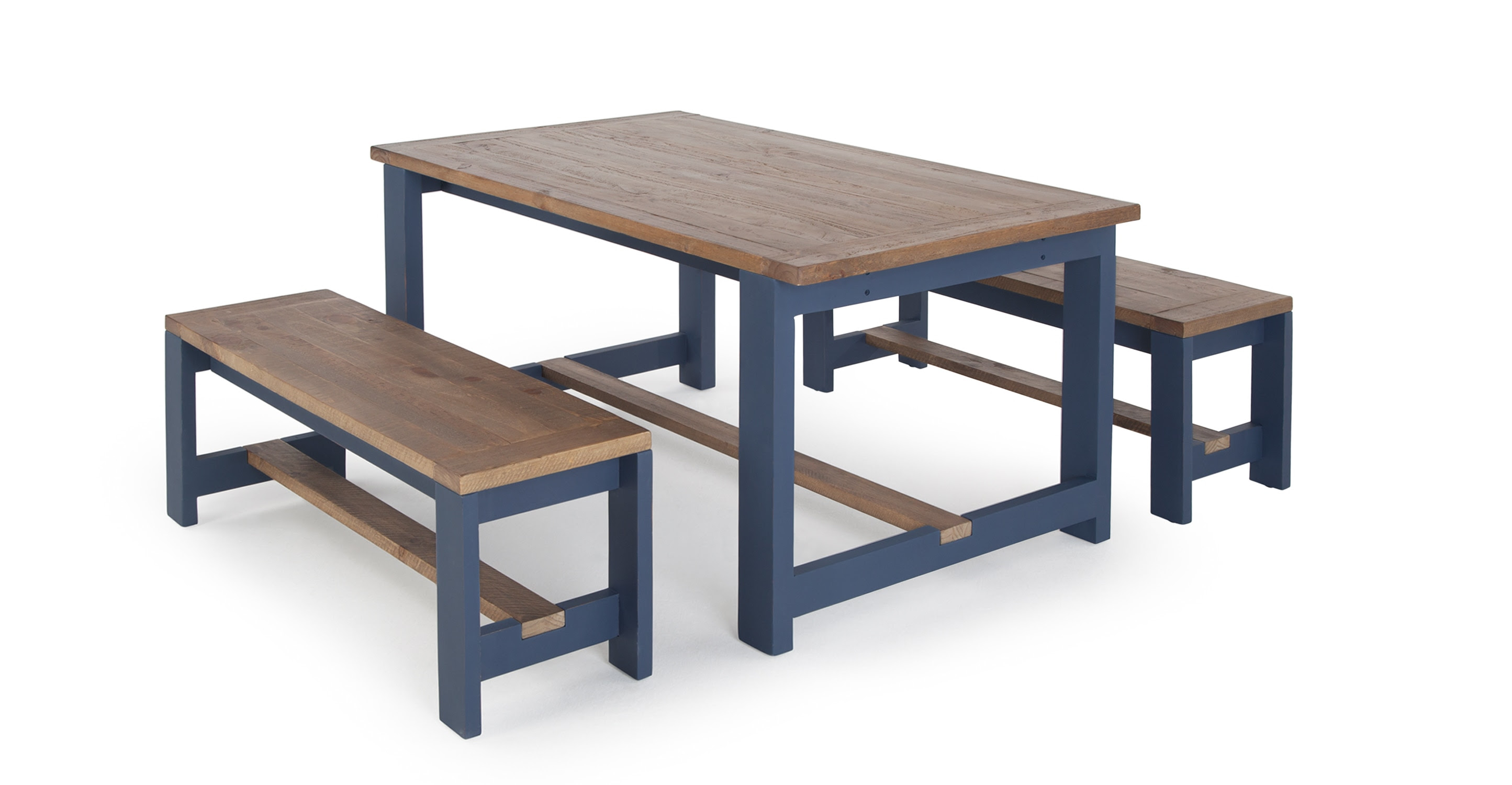 Bala Table and Bench Set, Solid Wood and Blue  made.com