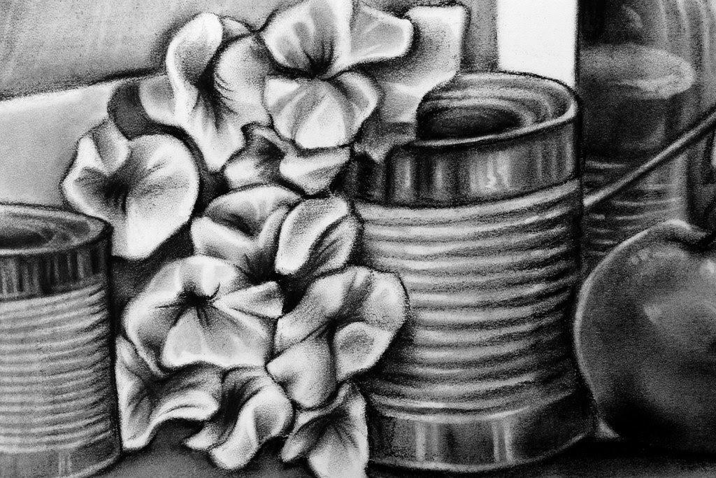 Charcoal Still Life Flower Detail