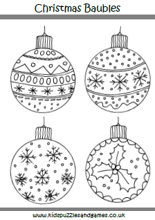 Christmas Baubles Coloring Page - Kids Puzzles and Games