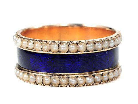Late Georgian Midnight Blue Enamel Ring c.1840