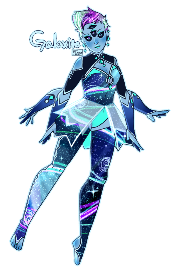 i felt an URGE today and i had to do it. a fusion between Oracle!Rhode and her adorable Advisor, Powder Blue Pearl, or Pluto: Galaxite! [[MORE]]she was a bit hard to design, as Pluto's outfit was...