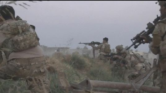 Troops outside Kirkuk, Iraq, as they close in on IS fighters in the town