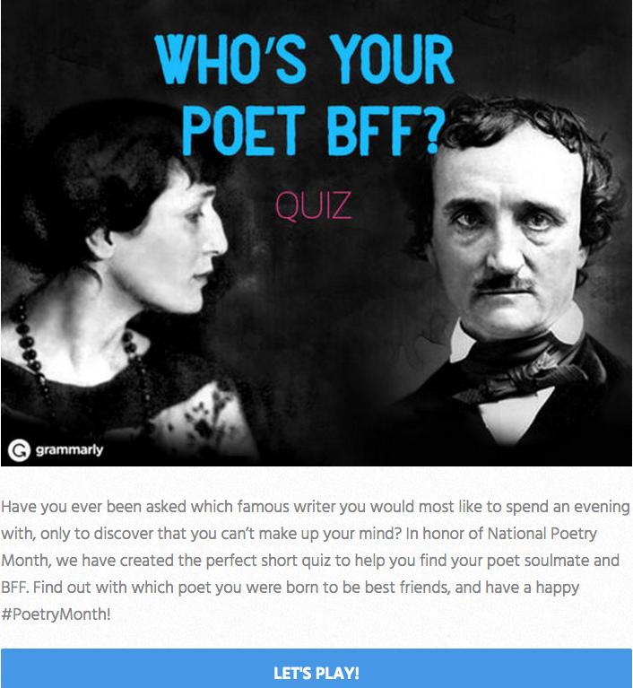 Grammarly Poet BFF Quiz Invitation Image