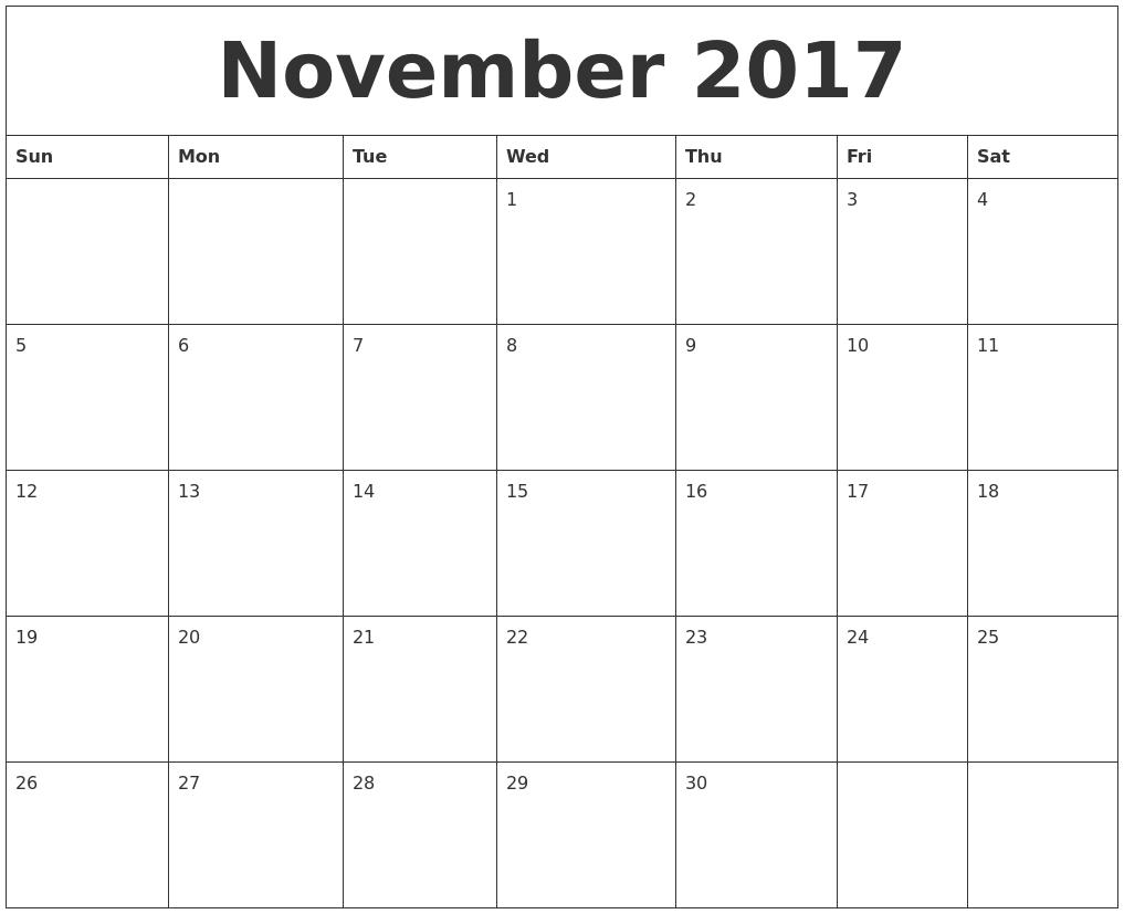 November 2017 Printable Daily Calendar