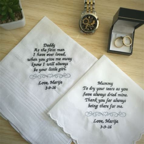 Wedding gift for parents; handkerchief for mother of the