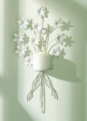 32033 - White Metal Floral Candle Wall Sconce - Sharion's ...