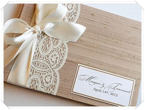 Tan Custom Wedding Guestbook with Lace Band (made to order
