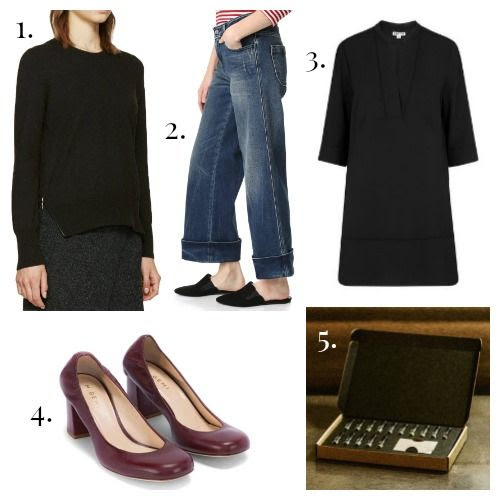 Isabel Marant Etoile Sweater - Seafarer Jeans - Whistles Tunic - M.Gemi Pumps - Le Labo Fragrances