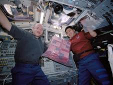 Astronauts Mark E. Kelly (left), STS-108 pilot, and Daniel M. Tani, mission specialist, hold a bag of several American flags on the aft flight deck of the Space Shuttle Endeavour. The flags carried on the shuttle include 6,000 small U.S. flags, one U.S. flag that was recovered from the debris of the World Trade Center, a Marine Corps flag that was retrieved from the Pentagon, and an American flag from the State of Pennsylvania. Also onboard, is a large New York Fire Department flag, 23 replica New York Police Department shields, and 91 New York Police Department patches.