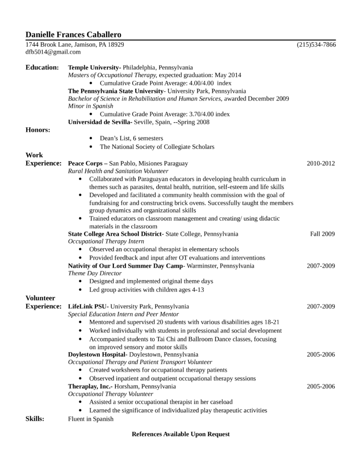 entry level  freshers occupational therapist resume l1