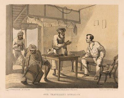 Traveller's Bungalow in India, Antique British Raj Lithograph