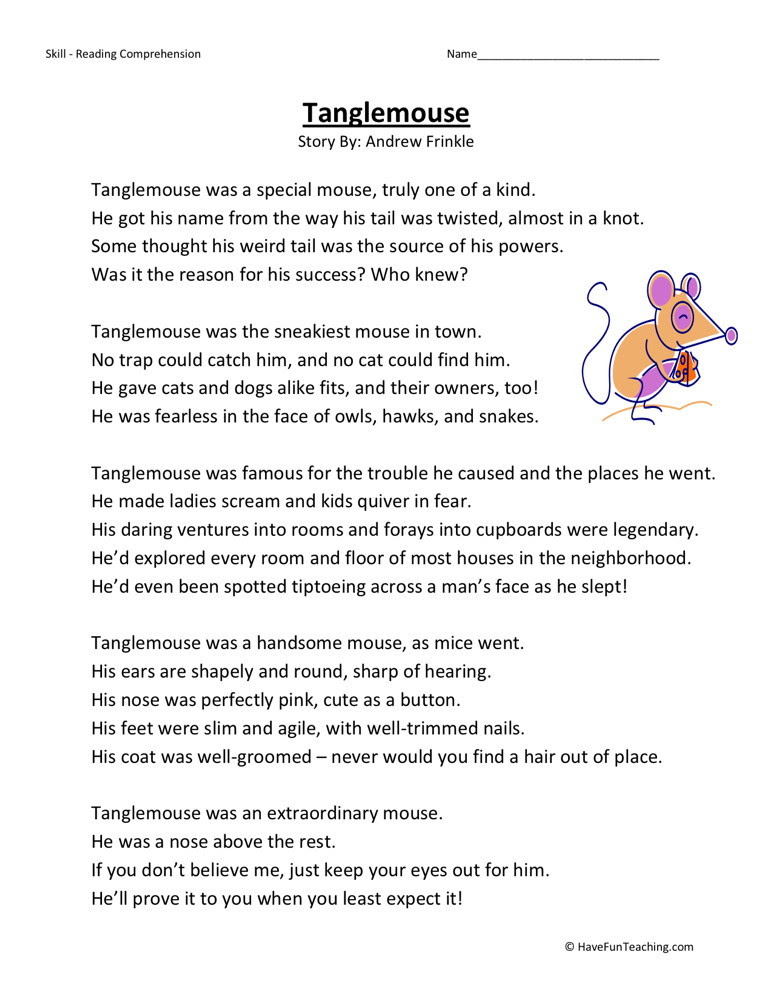 Reading Prehension Worksheet Tanglemouse