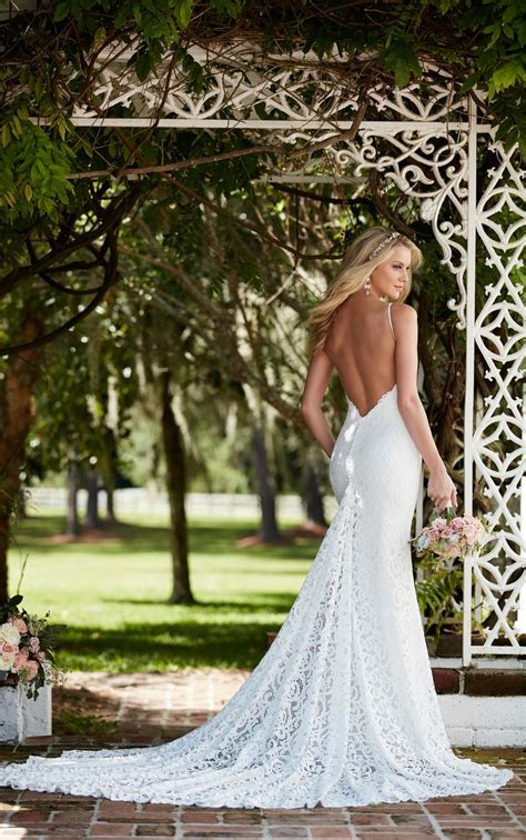 Graphic Lace Wedding Dress with Straps   Martina Liana