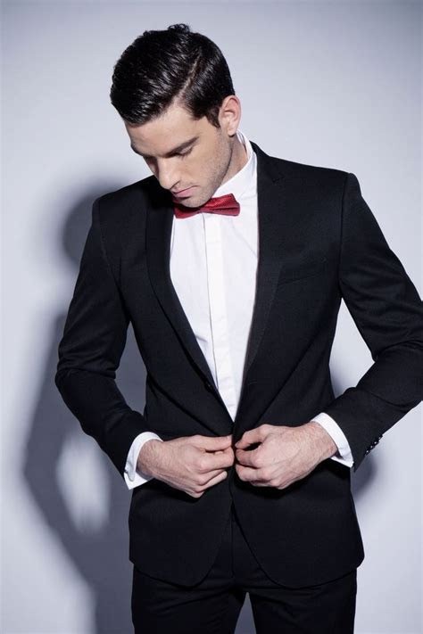 Classic black suit with red bow tie   Ken in 2019   Black