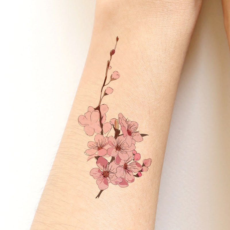 Sakura Cherry Blossom Sticker Tattoo Hand Drawing Style