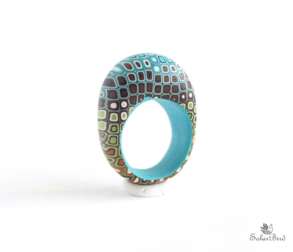 "Ring ""Pixel"" geometric ring, blue, turquoise, brown, geometric jewelry, minimalist jewelry"