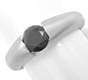 Originalfoto BRILLANT-SPANN-RING 0,88ct SCHWARZER DIAMANT LUXUS! NEU