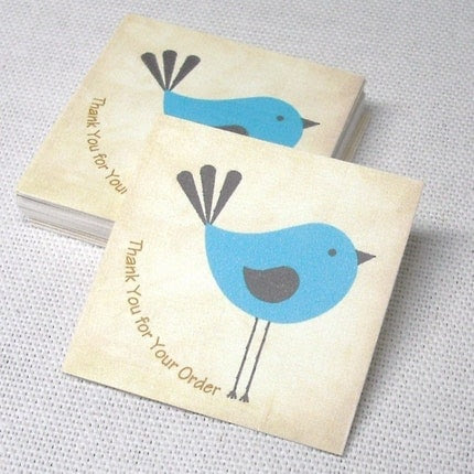 20 Thank You for Your Order Tags Blue Bird Petite