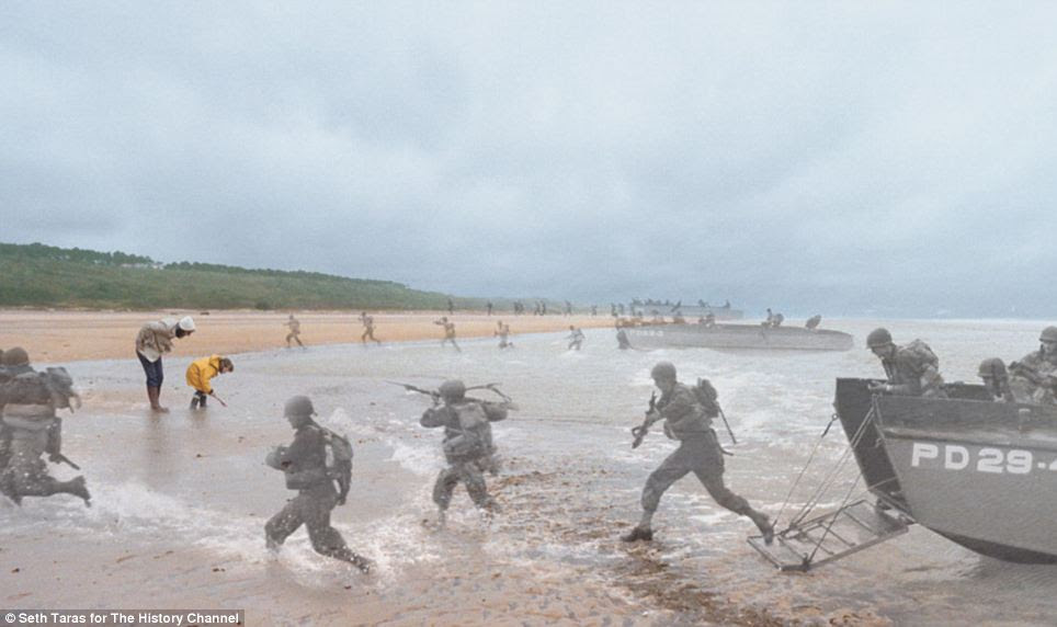 Courage of those who came before us: The peaceful beaches of Normandy were once the location of the biggest amphibious invasion in the history of warfare, as this picture shows