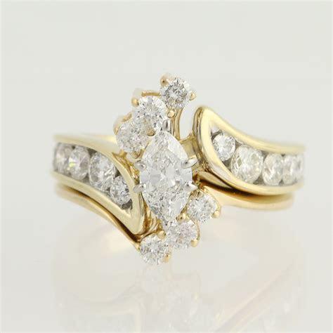Diamond Engagement Ring & Wedding Band   14k Gold Marquise