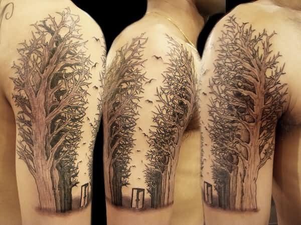 Grey Ink Half Sleeve Tree Tattoo