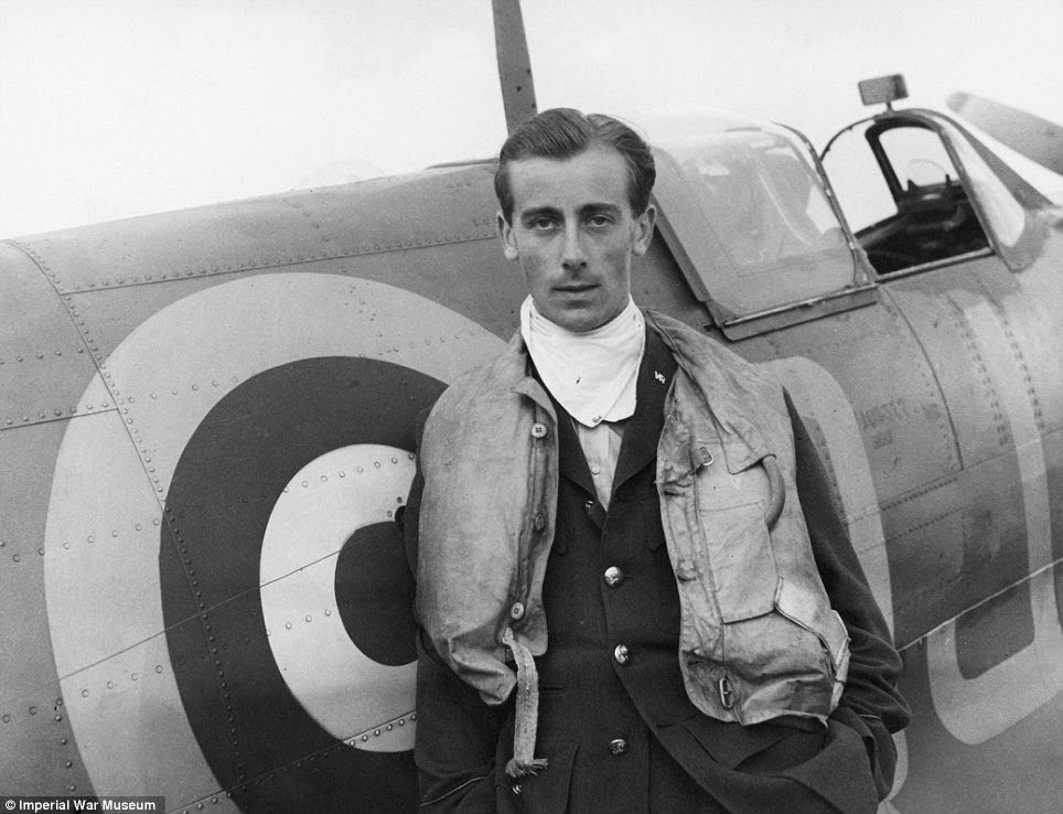 Suave: Battle of Britain pilot Neville Duke, who later broke the World Air Speed record, pictured with his Spitfire at RAF Biggin Hill in 1941