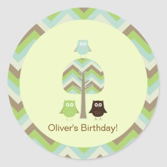 Owl Birthday Cupcake Toppers/Stickers zazzle_sticker