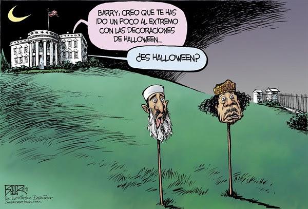Nate Beeler - The Washington Examiner - Decoraciones de Halloween / COLOR - English - Medio, Oriente, Africa, Libia, Muammar, al, Gaddafi, Gadhafi, dictador,  Moammar, Khadafy, Qadafy, Qaddafi, Khadafi, Osama, Bin, Laden, Al, Qaeda, terrorismo, terrorista, Barack, Obama, Casa, Blanca, Halloween, decoraciones, dia, festivo, cabezas, guerra