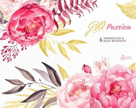 Gold Passion 6 Bouquets, Watercolor Hand Painted Clipart