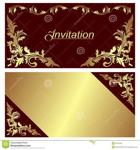 Invitation Card   Design With Golden Borders. Stock Vector