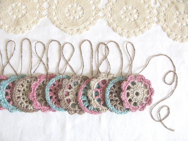Olivia, cottage chic flower garland, wall hanging hand crochet in rustic recycled yarn - MADE TO ORDER, by Emma Lamb - emmalamb