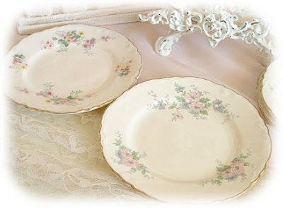 two dessert plates with floral pattern