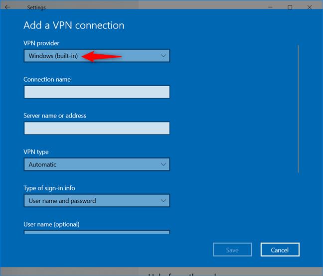 Agregar una conexión VPN: seleccione Windows como proveedor de VPN