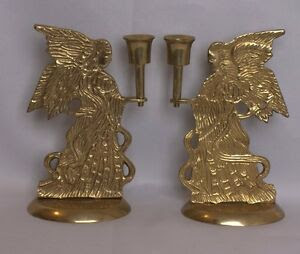 Vintage Set of Two Brass Angel Brass Taper Candle Holders ...