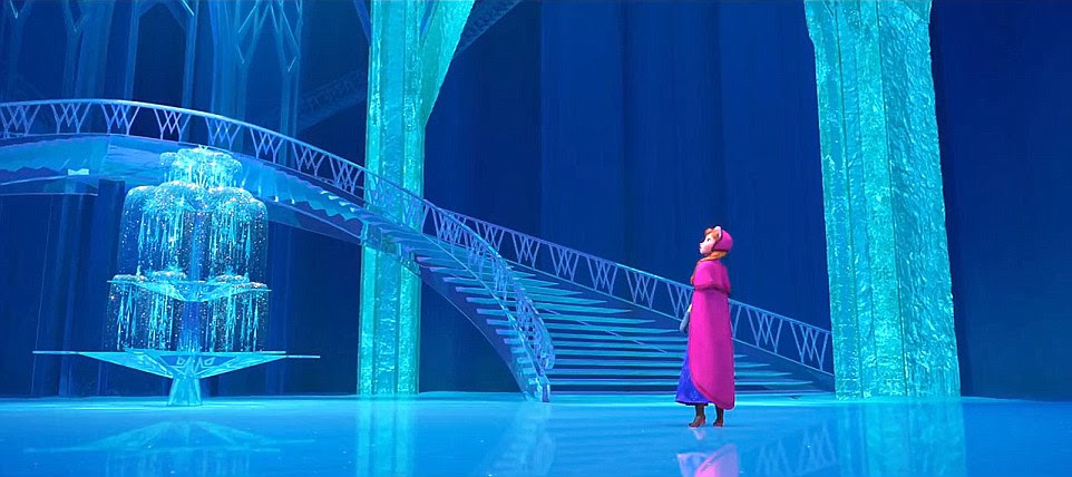 Princess Anna marvels at Elsa's castle in the film which is based on Hans Christian Andersen's fairy tale The Snow Queen