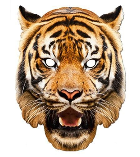 Tiger Animal Card Party Face Mask. In Stock Now with Free