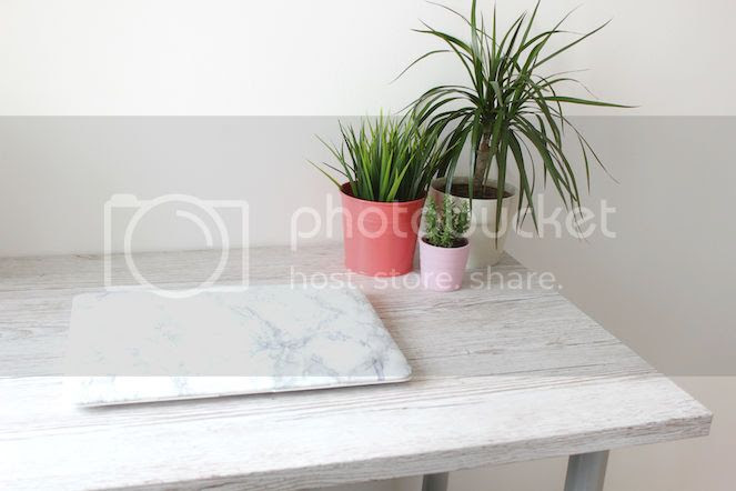 small office work desk space grey marble wood interior
