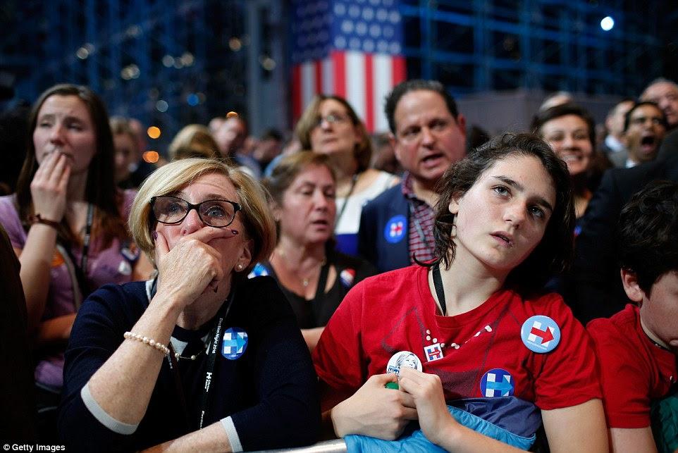 apoiadores de Clinton assistir em choque quando Trump ganha uma vantagem em vários estados na eleição presidencial na terça-feira